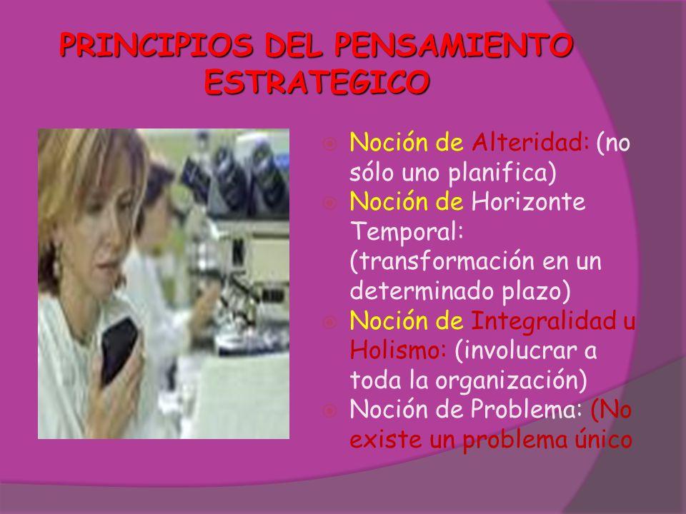 PRINCIPIOS DEL PENSAMIENTO ESTRATEGICO Noción de Alteridad: (no sólo uno planifica) Noción de Horizonte Temporal: (transformación en un determinado pl