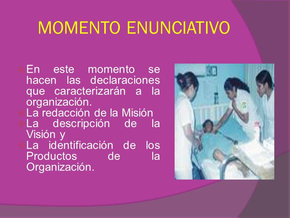 MOMENTO ENUNCIATIVO En este momento se hacen las declaraciones que caracterizarán a la organización. La redacción de la Misión La descripción de la Vi