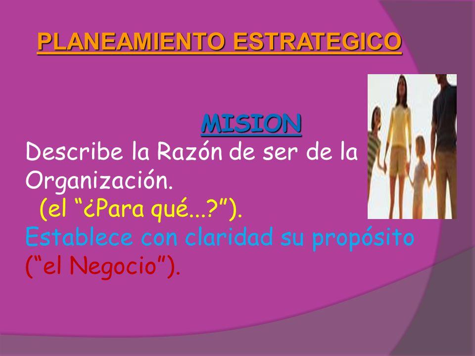 PLANEAMIENTO ESTRATEGICO MISION Describe la Razón de ser de la Organización. (el ¿Para qué...?). Establece con claridad su propósito (el Negocio).