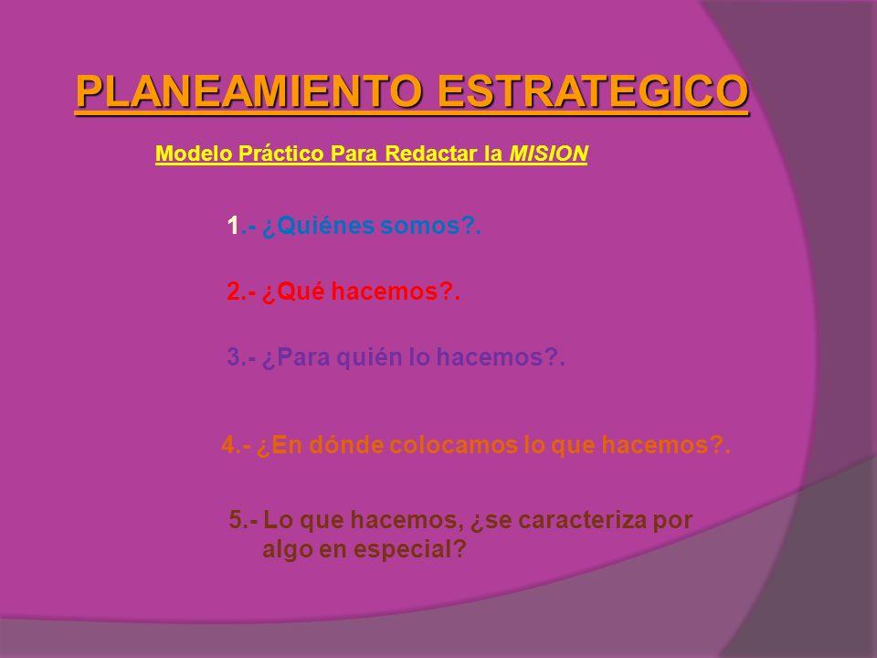 PLANEAMIENTO ESTRATEGICO Modelo Práctico Para Redactar la MISION 1.- ¿Quiénes somos?. 2.- ¿Qué hacemos?. 3.- ¿Para quién lo hacemos?. 4.- ¿En dónde co