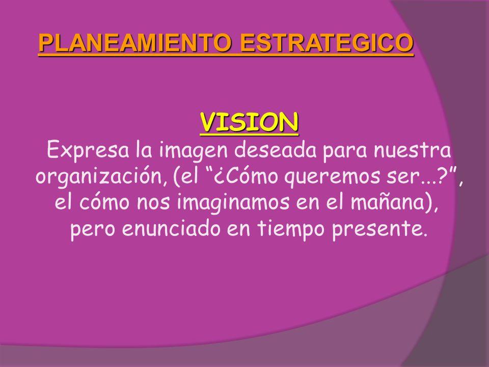 PLANEAMIENTO ESTRATEGICO VISION Expresa la imagen deseada para nuestra organización, (el ¿Cómo queremos ser...?, el cómo nos imaginamos en el mañana),