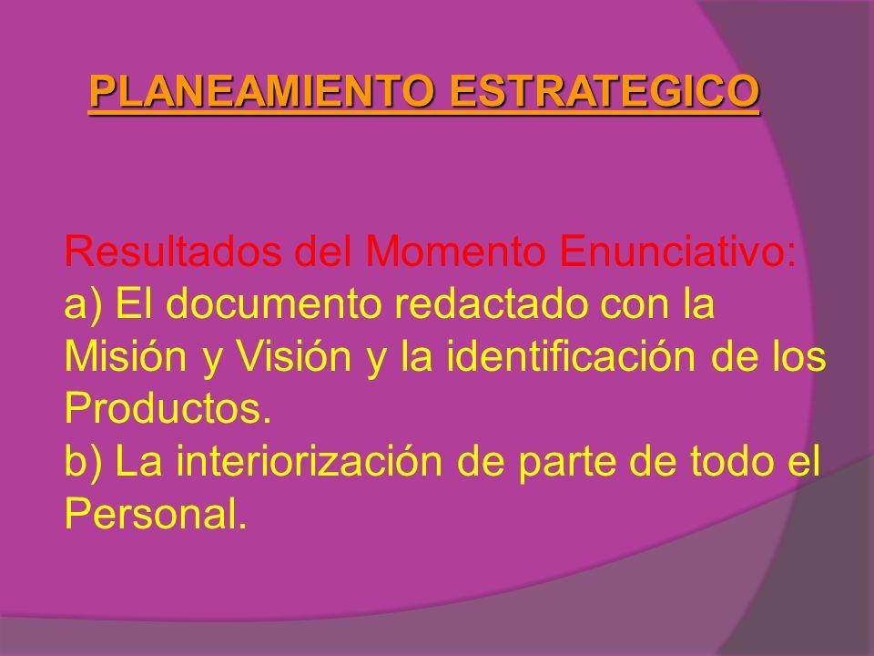 PLANEAMIENTO ESTRATEGICO Resultados del Momento Enunciativo: a) El documento redactado con la Misión y Visión y la identificación de los Productos. b)