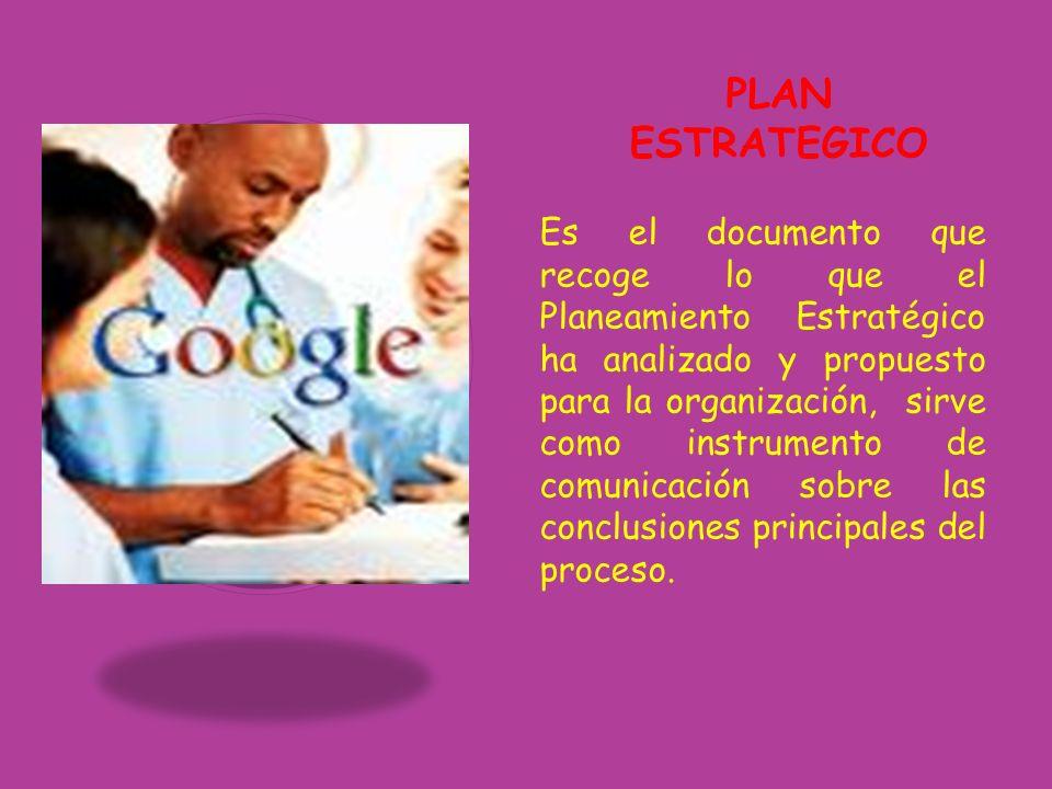 PLAN ESTRATEGICO Es el documento que recoge lo que el Planeamiento Estratégico ha analizado y propuesto para la organización, sirve como instrumento d