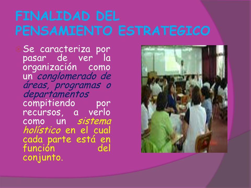 FINALIDAD DEL PENSAMIENTO ESTRATEGICO Se caracteriza por pasar de ver la organización como un conglomerado de áreas, programas o departamentos compiti