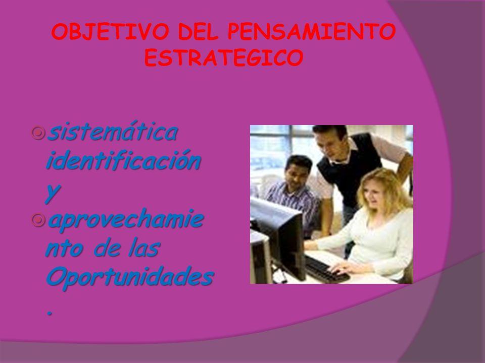OBJETIVO DEL PENSAMIENTO ESTRATEGICO sistemática identificación y sistemática identificación y aprovechamie nto de las Oportunidades. aprovechamie nto