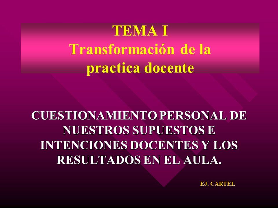 CUESTIONAMIENTO PERSONAL DE NUESTROS SUPUESTOS E INTENCIONES DOCENTES Y LOS RESULTADOS EN EL AULA. TEMA I Transformación de la practica docente EJ. CA