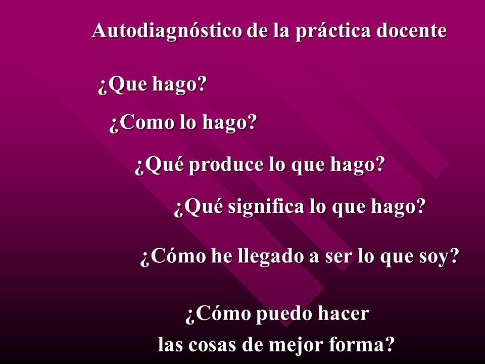 Autodiagnóstico de la práctica docente ¿Que hago? ¿Qué produce lo que hago? ¿Como lo hago? ¿Qué significa lo que hago? ¿Cómo he llegado a ser lo que s