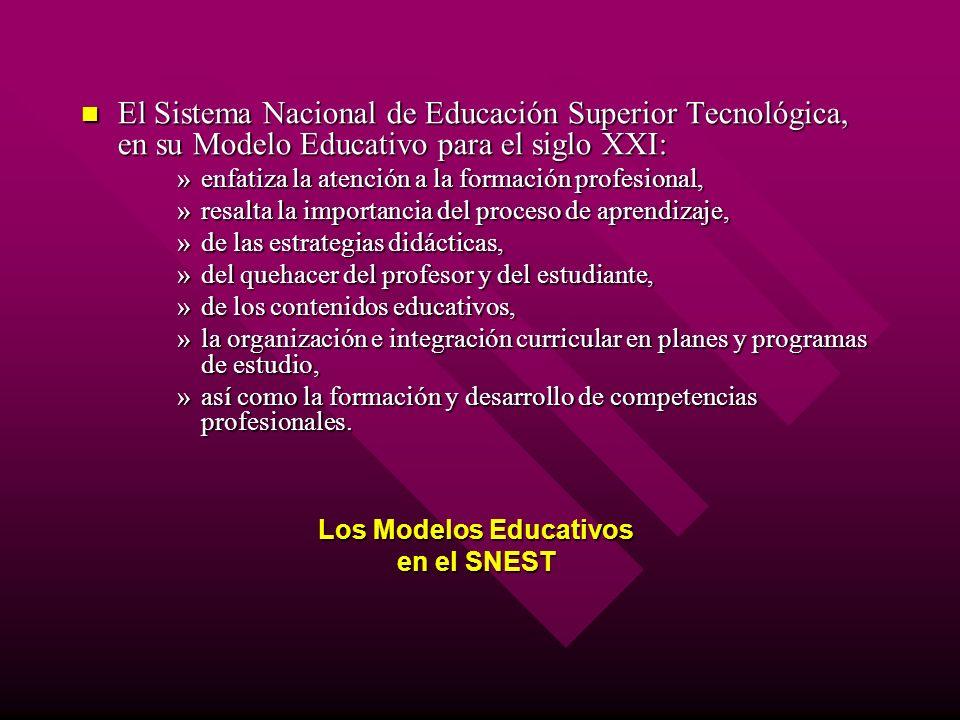 El Sistema Nacional de Educación Superior Tecnológica, en su Modelo Educativo para el siglo XXI: El Sistema Nacional de Educación Superior Tecnológica