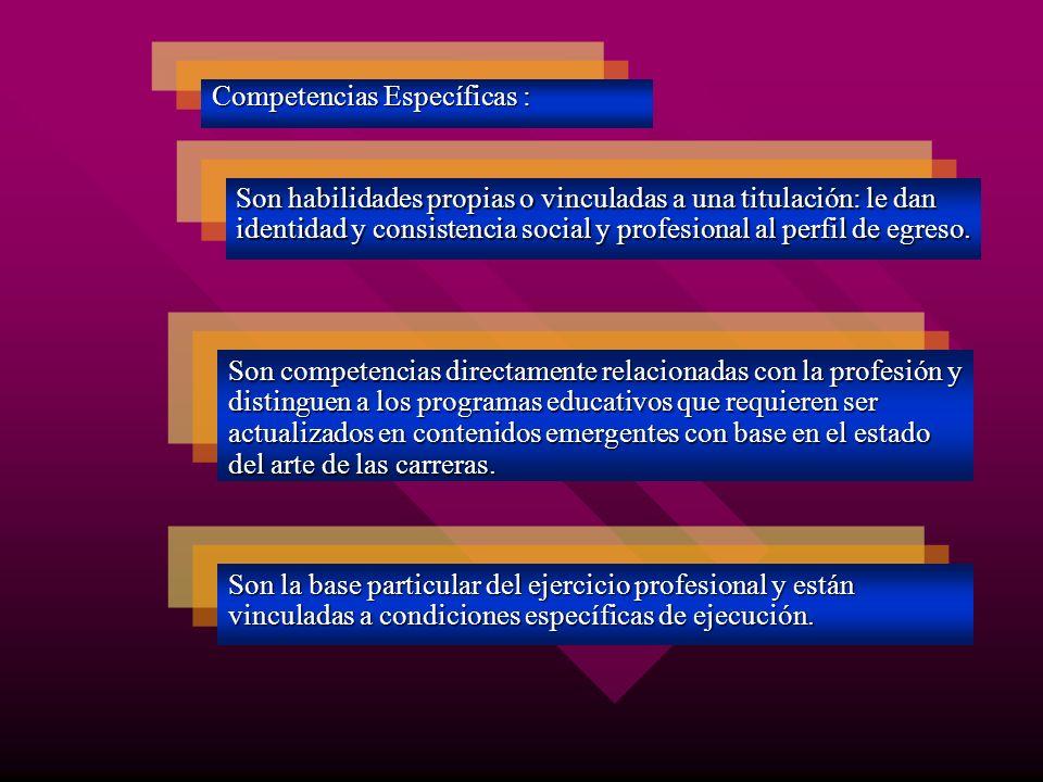 Competencias Específicas : Son habilidades propias o vinculadas a una titulación: le dan identidad y consistencia social y profesional al perfil de eg