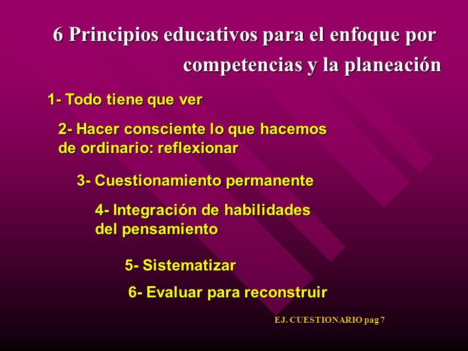 6 Principios educativos para el enfoque por competencias y la planeación 2- Hacer consciente lo que hacemos de ordinario: reflexionar 3- Cuestionamien