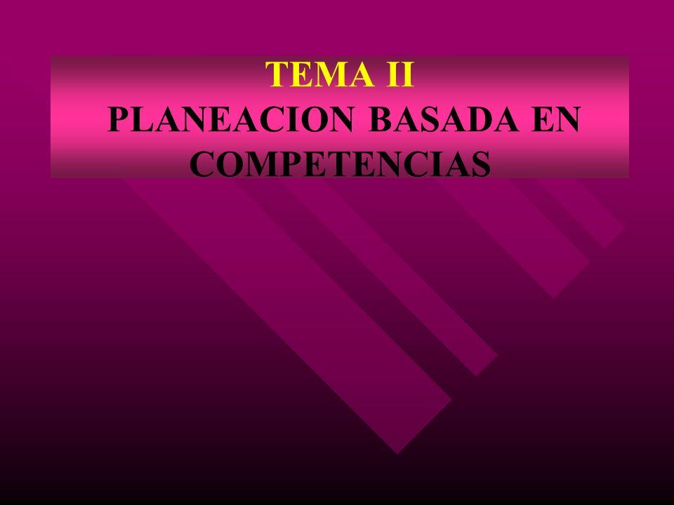 TEMA II PLANEACION BASADA EN COMPETENCIAS