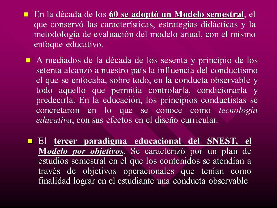 60 se adoptó un Modelo semestral En la década de los 60 se adoptó un Modelo semestral, el que conservó las características, estrategias didácticas y l