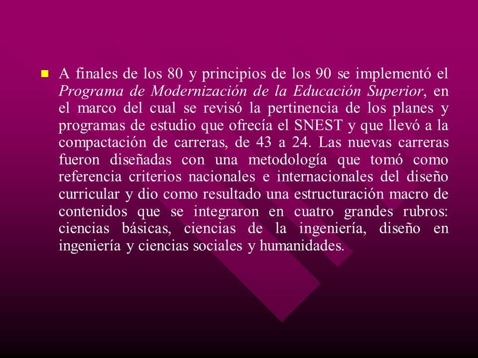 A finales de los 80 y principios de los 90 se implementó el Programa de Modernización de la Educación Superior, en el marco del cual se revisó la pert