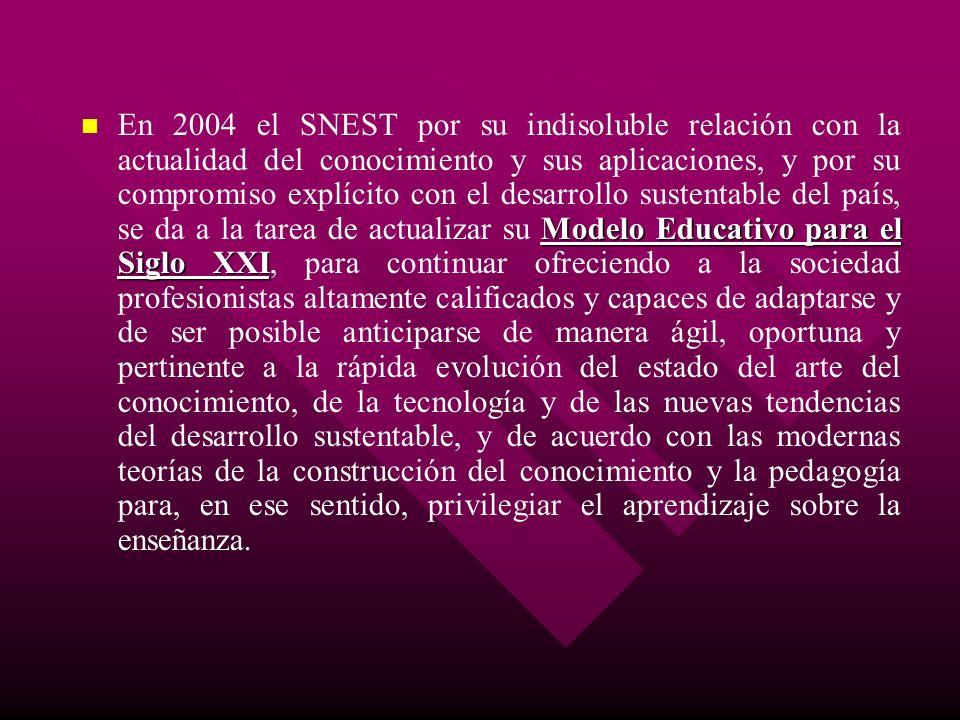 Modelo Educativo para el Siglo XXI En 2004 el SNEST por su indisoluble relación con la actualidad del conocimiento y sus aplicaciones, y por su compro