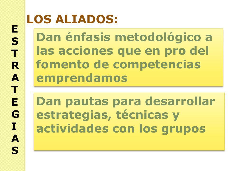 ESTRATEGIASESTRATEGIAS LOS ALIADOS: Dan énfasis metodológico a las acciones que en pro del fomento de competencias emprendamos Dan pautas para desarrollar estrategias, técnicas y actividades con los grupos