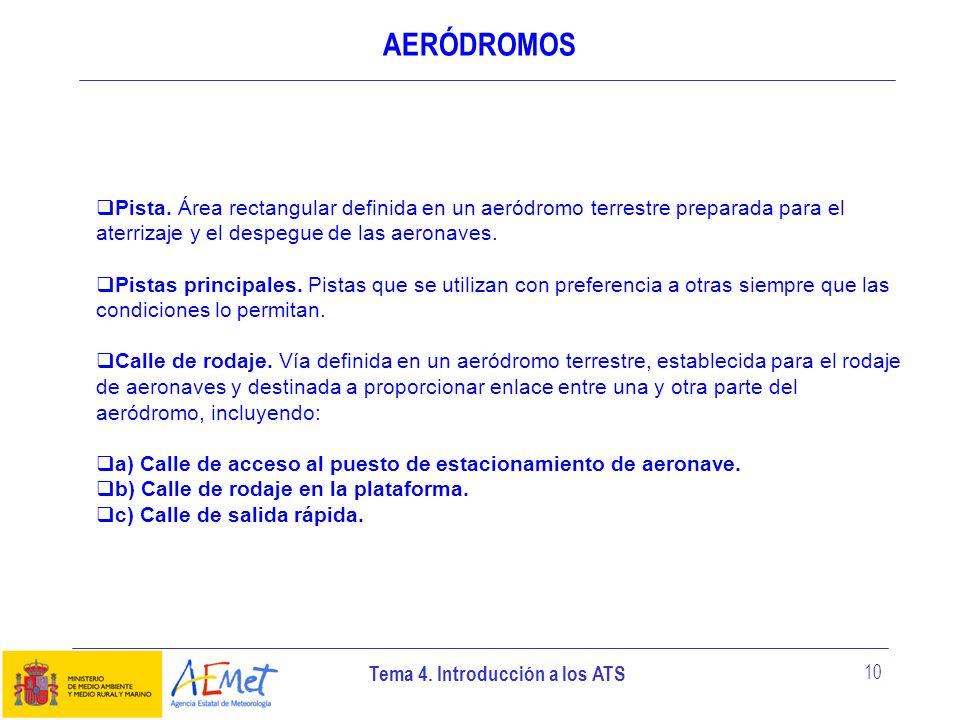 Tema 4. Introducción a los ATS 10 AERÓDROMOS Pista. Área rectangular definida en un aeródromo terrestre preparada para el aterrizaje y el despegue de