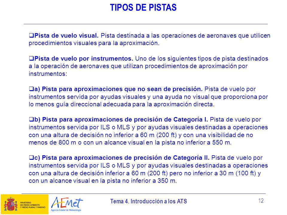 Tema 4. Introducción a los ATS 12 TIPOS DE PISTAS Pista de vuelo visual. Pista destinada a las operaciones de aeronaves que utilicen procedimientos vi