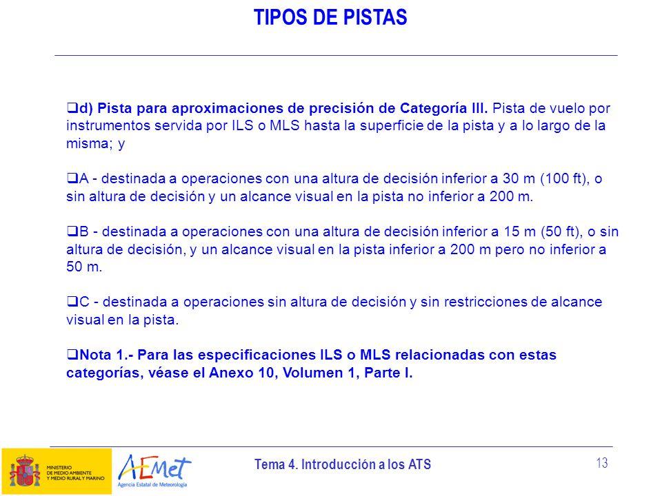 Tema 4. Introducción a los ATS 13 TIPOS DE PISTAS d) Pista para aproximaciones de precisión de Categoría III. Pista de vuelo por instrumentos servida