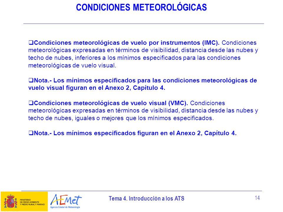 Tema 4. Introducción a los ATS 14 CONDICIONES METEOROLÓGICAS Condiciones meteorológicas de vuelo por instrumentos (IMC). Condiciones meteorológicas ex