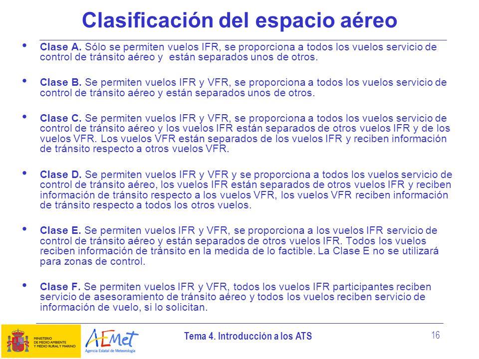 Tema 4. Introducción a los ATS 16 Clasificación del espacio aéreo Clase A. Sólo se permiten vuelos IFR, se proporciona a todos los vuelos servicio de