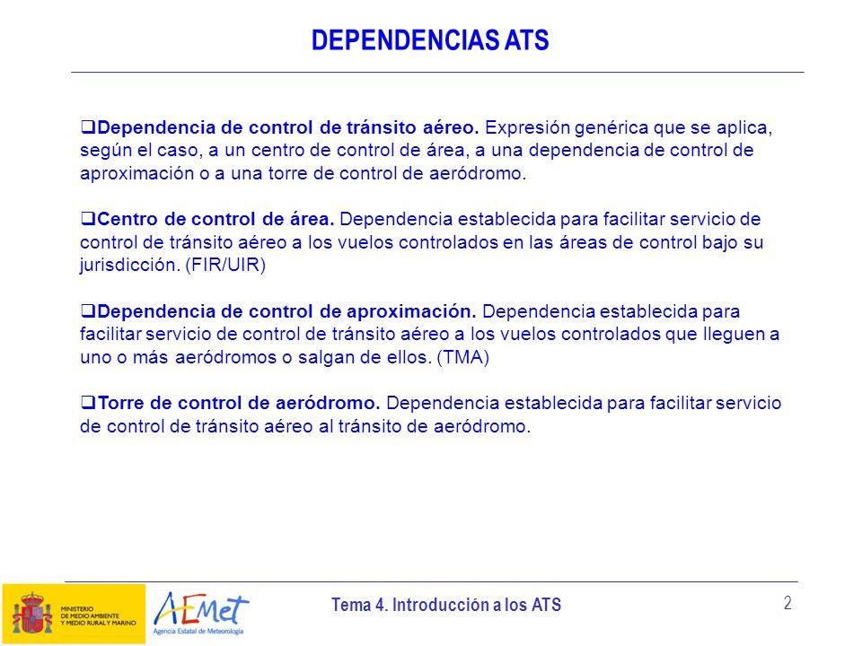 Tema 4. Introducción a los ATS 2 DEPENDENCIAS ATS Dependencia de control de tránsito aéreo. Expresión genérica que se aplica, según el caso, a un cent