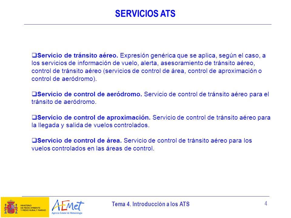 Tema 4. Introducción a los ATS 4 SERVICIOS ATS Servicio de tránsito aéreo. Expresión genérica que se aplica, según el caso, a los servicios de informa