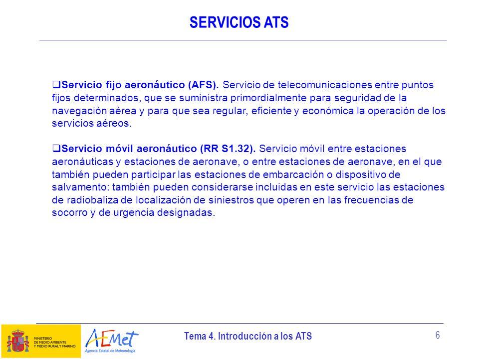 Tema 4. Introducción a los ATS 6 SERVICIOS ATS Servicio fijo aeronáutico (AFS). Servicio de telecomunicaciones entre puntos fijos determinados, que se