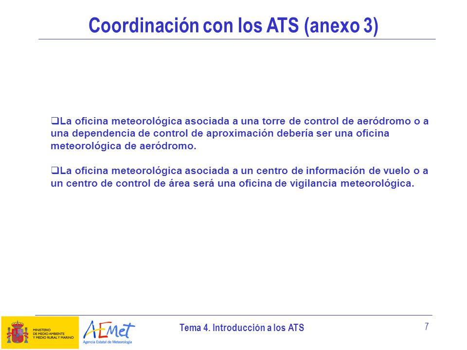 Tema 4. Introducción a los ATS 7 Coordinación con los ATS (anexo 3) La oficina meteorológica asociada a una torre de control de aeródromo o a una depe