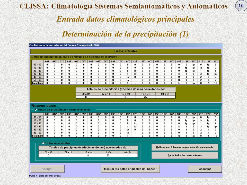 10 CLISSA: Climatología Sistemas Semiautomáticos y Automáticos Entrada datos climatológicos principales Determinación de la precipitación (1)