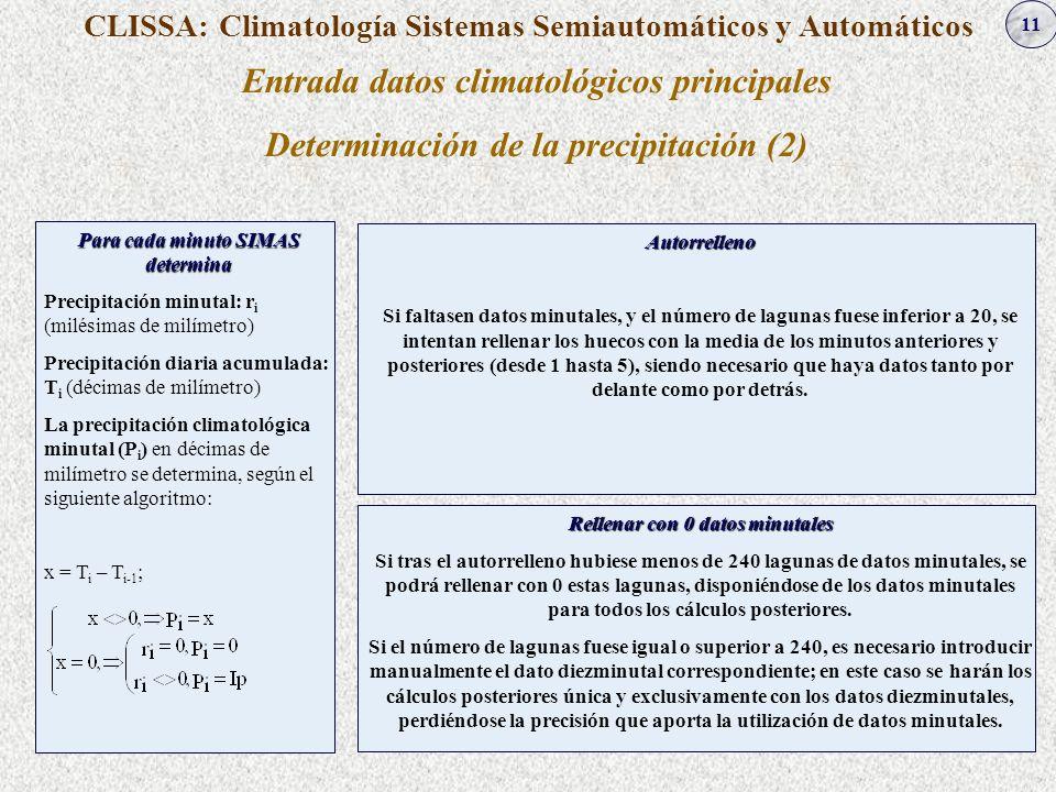 11 CLISSA: Climatología Sistemas Semiautomáticos y Automáticos Entrada datos climatológicos principales Determinación de la precipitación (2) Autorrel