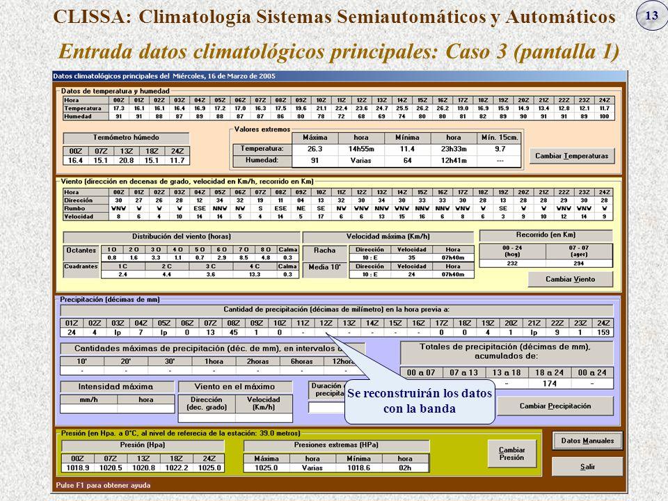 13 CLISSA: Climatología Sistemas Semiautomáticos y Automáticos Entrada datos climatológicos principales: Caso 3 (pantalla 1) Se reconstruirán los dato
