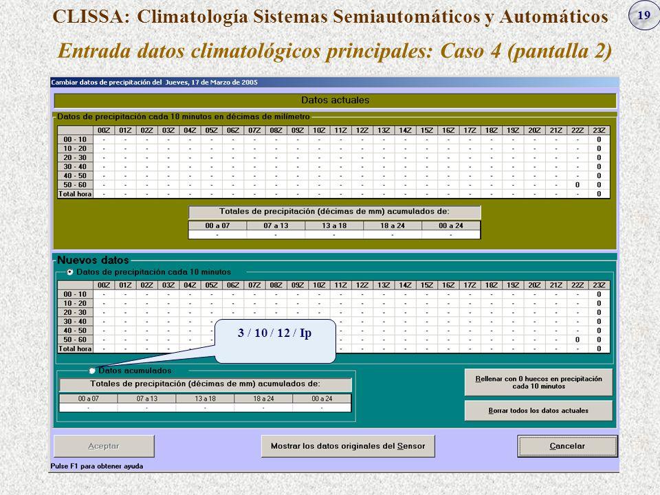 19 CLISSA: Climatología Sistemas Semiautomáticos y Automáticos Entrada datos climatológicos principales: Caso 4 (pantalla 2) 3 / 10 / 12 / Ip