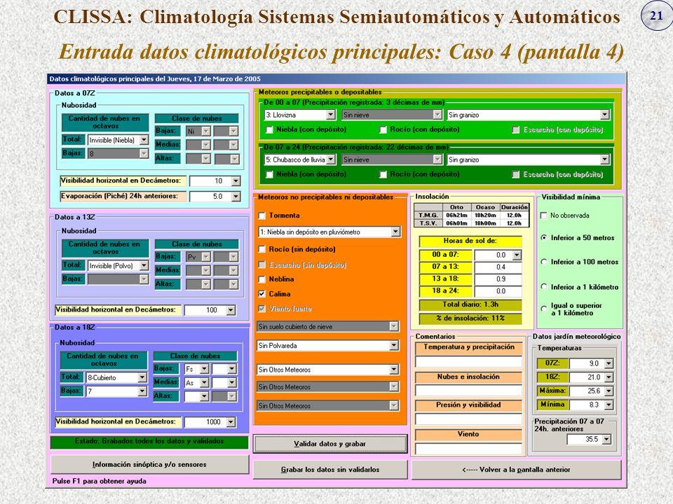 21 CLISSA: Climatología Sistemas Semiautomáticos y Automáticos Entrada datos climatológicos principales: Caso 4 (pantalla 4)
