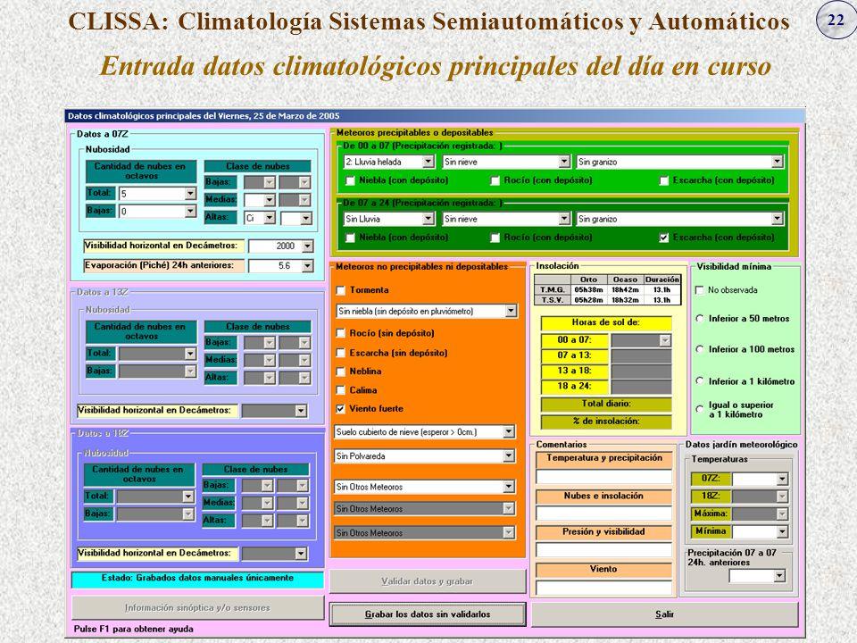 22 CLISSA: Climatología Sistemas Semiautomáticos y Automáticos Entrada datos climatológicos principales del día en curso