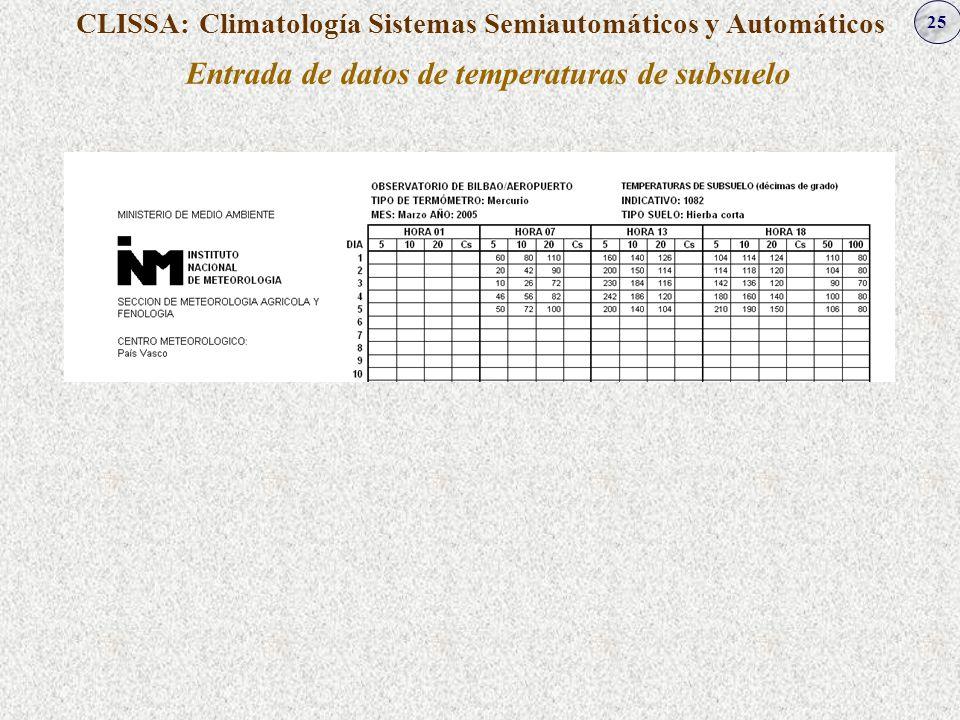 25 CLISSA: Climatología Sistemas Semiautomáticos y Automáticos Entrada de datos de temperaturas de subsuelo