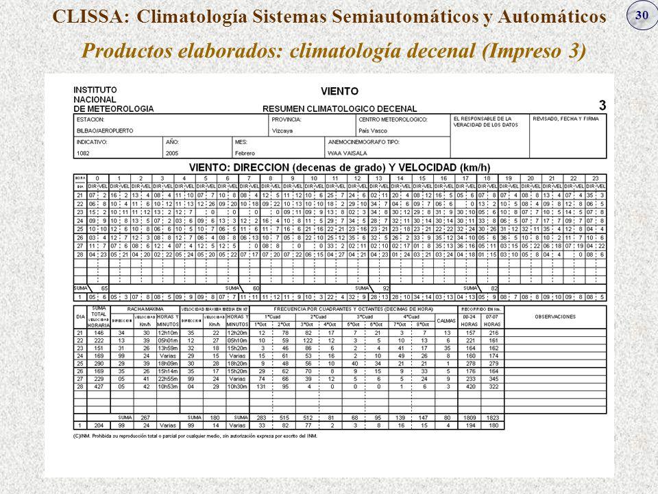 30 CLISSA: Climatología Sistemas Semiautomáticos y Automáticos Productos elaborados: climatología decenal (Impreso 3)