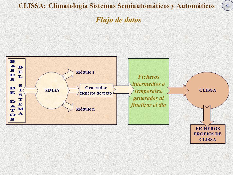 6 CLISSA: Climatología Sistemas Semiautomáticos y Automáticos Flujo de datos SIMAS Generador ficheros de texto Módulo 1 Módulo n Ficheros intermedios