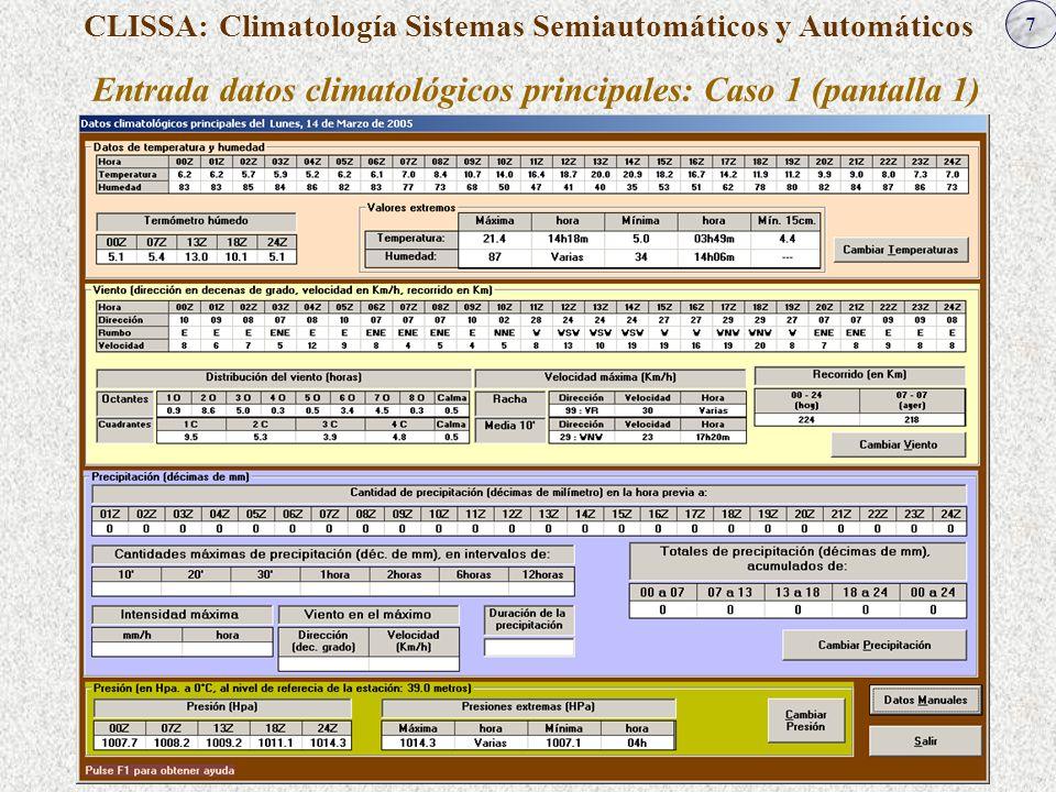 7 CLISSA: Climatología Sistemas Semiautomáticos y Automáticos Entrada datos climatológicos principales: Caso 1 (pantalla 1)