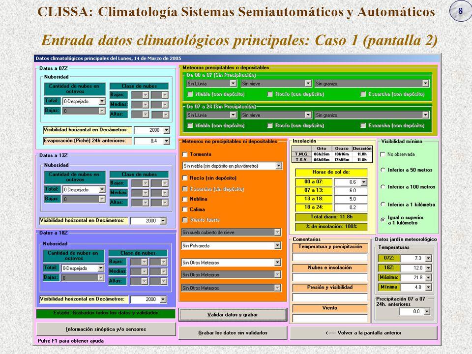 8 CLISSA: Climatología Sistemas Semiautomáticos y Automáticos Entrada datos climatológicos principales: Caso 1 (pantalla 2)