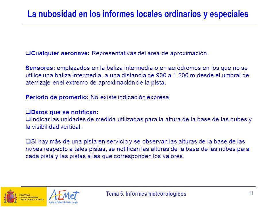 Tema 5. Informes meteorológicos 11 La nubosidad en los informes locales ordinarios y especiales Cualquier aeronave: Representativas del área de aproxi