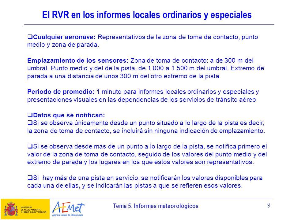 Tema 5. Informes meteorológicos 9 El RVR en los informes locales ordinarios y especiales Cualquier aeronave: Representativos de la zona de toma de con