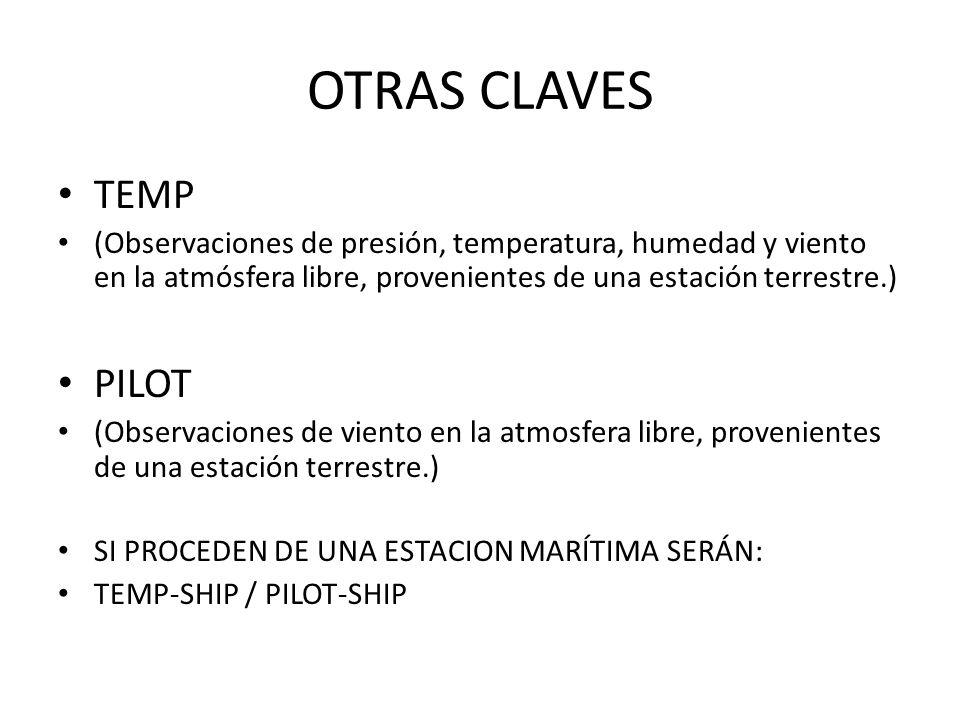 OTRAS CLAVES TEMP (Observaciones de presión, temperatura, humedad y viento en la atmósfera libre, provenientes de una estación terrestre.) PILOT (Observaciones de viento en la atmosfera libre, provenientes de una estación terrestre.) SI PROCEDEN DE UNA ESTACION MARÍTIMA SERÁN: TEMP-SHIP / PILOT-SHIP