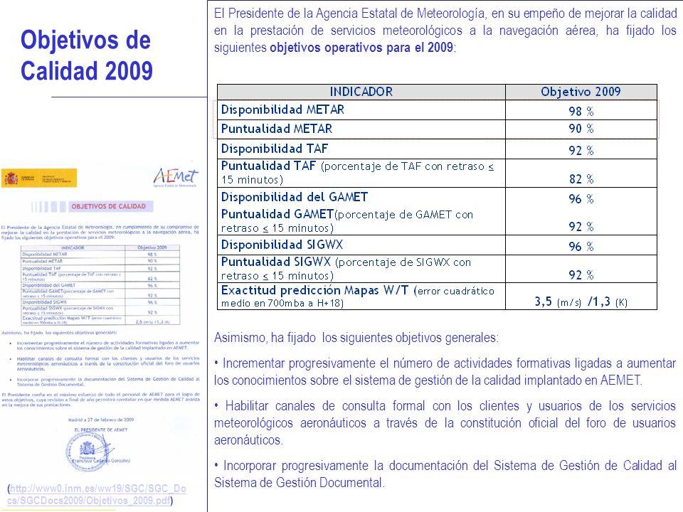 SISTEMA DE GESTIÓN DE LA CALIDAD 14 Objetivos de Calidad 2009 : El Presidente de la Agencia Estatal de Meteorología, en su empeño de mejorar la calida