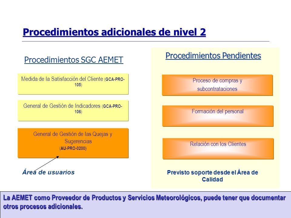 SISTEMA DE GESTIÓN DE LA CALIDAD 16 La AEMET como Proveedor de Productos y Servicios Meteorológicos, puede tener que documentar otros procesos adicion