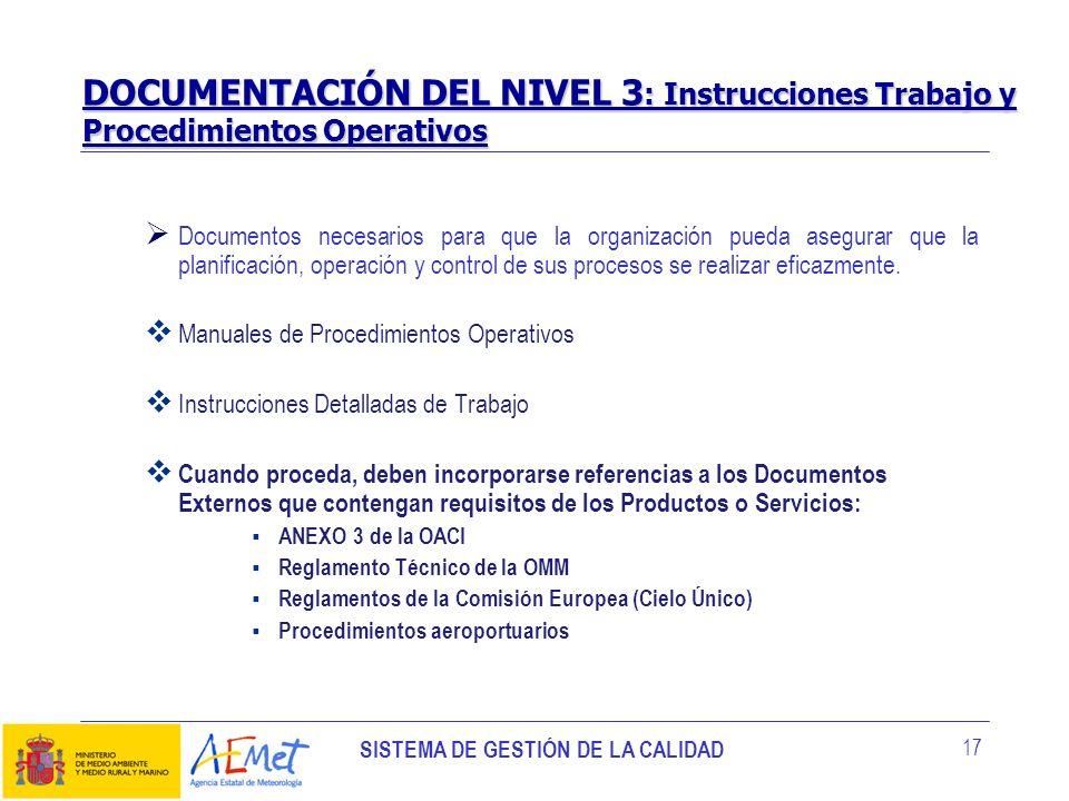 SISTEMA DE GESTIÓN DE LA CALIDAD 17 Documentos necesarios para que la organización pueda asegurar que la planificación, operación y control de sus pro