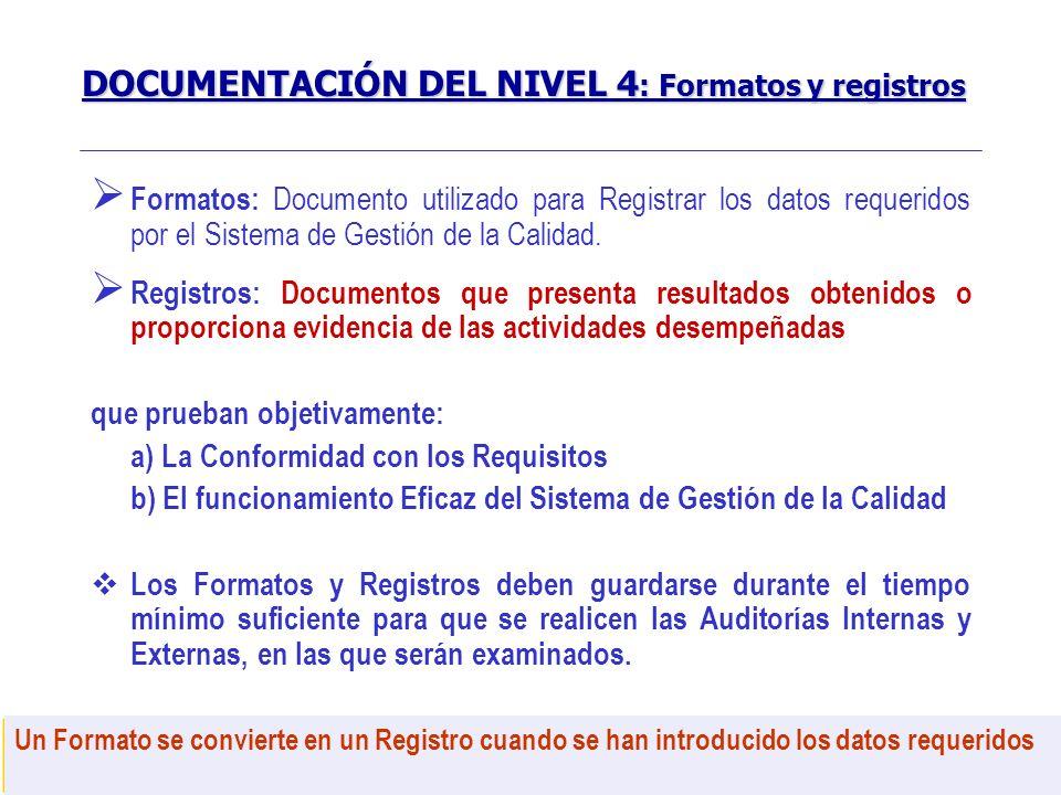 SISTEMA DE GESTIÓN DE LA CALIDAD 21 Formatos: Documento utilizado para Registrar los datos requeridos por el Sistema de Gestión de la Calidad. Registr