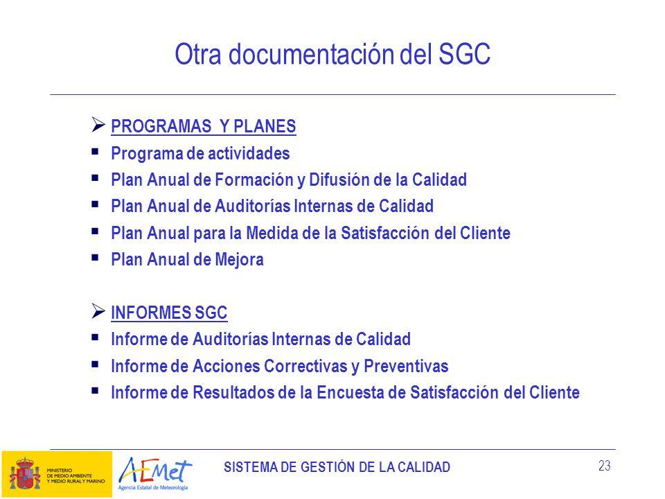 SISTEMA DE GESTIÓN DE LA CALIDAD 23 PROGRAMAS Y PLANES Programa de actividades Plan Anual de Formación y Difusión de la Calidad Plan Anual de Auditorí