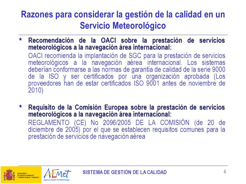 SISTEMA DE GESTIÓN DE LA CALIDAD 4 Razones para considerar la gestión de la calidad en un Servicio Meteorológico Recomendación de la OACI sobre la pre