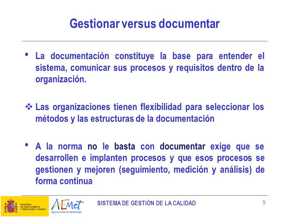 SISTEMA DE GESTIÓN DE LA CALIDAD 9 Gestionar versus documentar La documentación constituye la base para entender el sistema, comunicar sus procesos y
