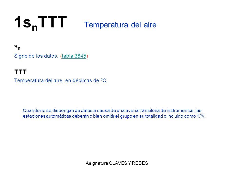 Asignatura CLAVES Y REDES 1s n TTT Temperatura del aire s n Signo de los datos. (tabla 3845)tabla 3845 TTT Temperatura del aire, en décimas de ºC. Cua